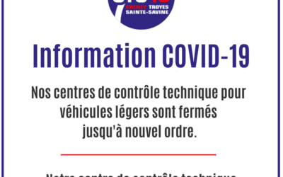 ℹ️ INFO COVID-19 ℹ️  ➡️ Nous avons le regret de vous annoncer la fermeture de nos trois centres de contrôle technique pour véhicules légers.  ➡️ Notre centre de contrôle technique pour poids lourds reste, en revanche, bel et bien ouvert.  Prenez soin de vous !