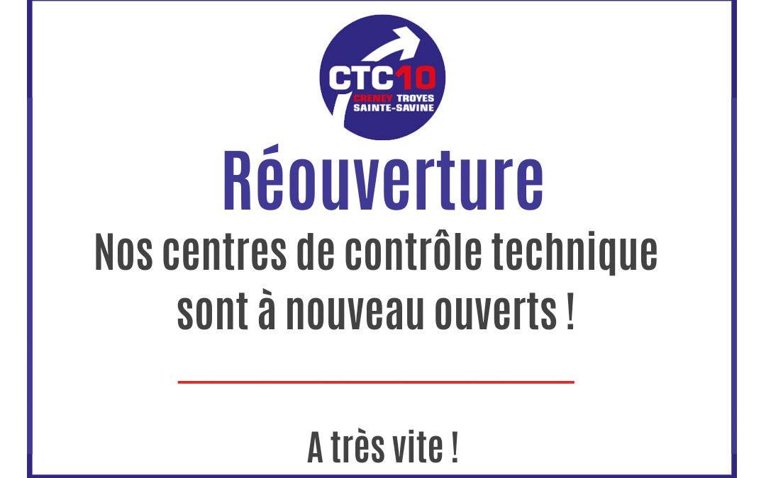 Réouverture des centres de contrôle technique CTC10