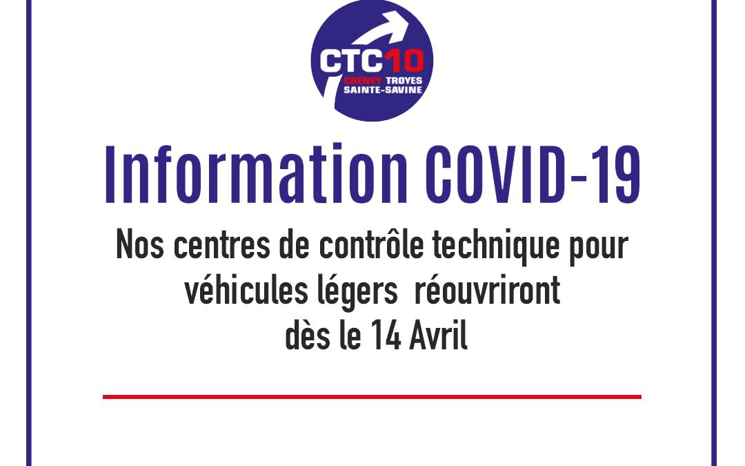 ⚠️ Info COVID-19 ⚠️ Réouverture des centres prévue pour le 14 Avril.